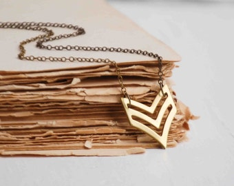 Chevron Military NECKLACE Unisex Geometric Arrow Pendant