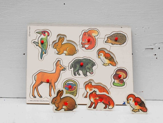 Forest Creatures Vintage Wood PUZZLE Made in England Waldorf Preschool