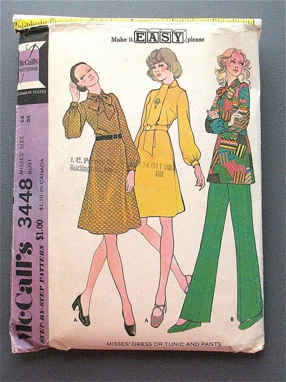 Vintage tunic and pants McCalls Sewing Pattern No. 3448.  Bust 36 inches.