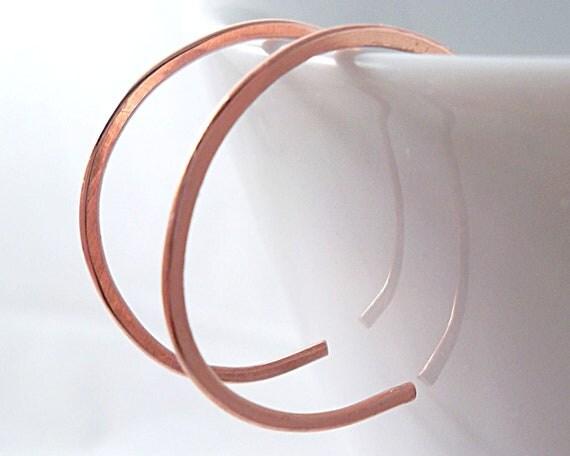 Tiny Reverse Copper Hoop Earrings