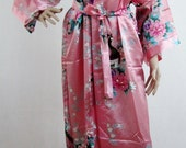 Coral Pink Silk LONG Bathrobe, House coat, kimono, dressing gown personalised custom bridesmaid bride mother of the bride