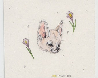 Fennec and Crocus (original painting)