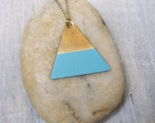 Baby blue dipped brass triangle necklace