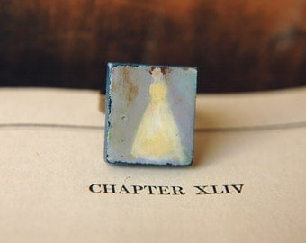 Jane Austen Inspired Ring Hand Painted Wood Tile  - Lady in Pale Yellow