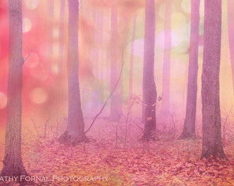 Nature Photography, Fairytale Dream Pink Trees Nature, Fantasy Nature Woodlands, Baby Girl Nursery Art, Autumn Fall Nature Woodland Trees