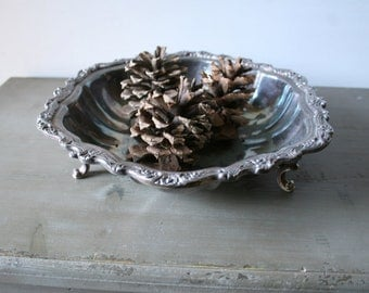 Vintage Tarnished Silver Claw Foot Tray