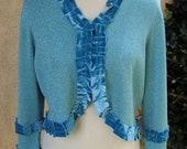 Women's XL Upcycled Bolero Sweater - Turquoise Sparkle