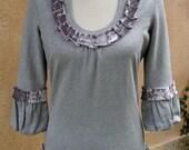 Women's Small Upcycled Bolero Sweater - Silver Sparkle