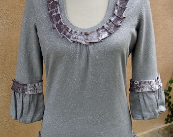 Women's Small Upcycled Bolero Sweater - Silver Sparkle