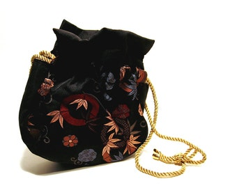 Vintage Drawstring Purse Metallic Fabric Evening Bag Bohemian Fashion Steampunk