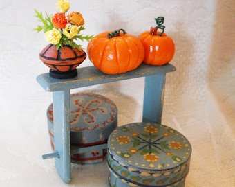 1/12 Scale (Dollhouse) Small Autumn Floral Arrangement of Marigolds in a Primitive Clay Pot - Indoor Fairy Garden