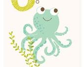 ABC card, O is for Octopus, ABC wall art, alphabet flash cards, nursery wall decor for kids