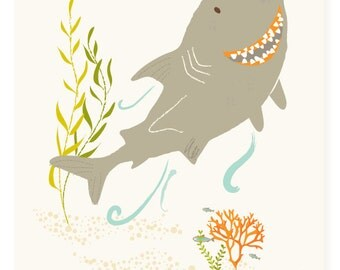 Shark wall art, ocean art for kids, nursery wall decor for baby