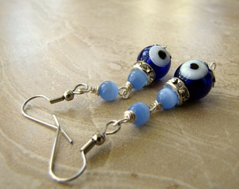 50% OFF Evil Eye Earrings - Blue Beaded Glass and Crystal Dangle Earrings - Nazar (Ready to Ship)