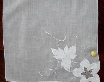 Vintage Handkerchief Embroidered Wedding White Satin Stitch Applique Floral Batiste Netting British Hong Kong   1940s