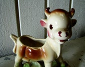 Vintage Cow Planter Vase, Trinket or Sugar Packet Holder, Kitsch, Bovine, How Now Brown Cow, Got Calcium