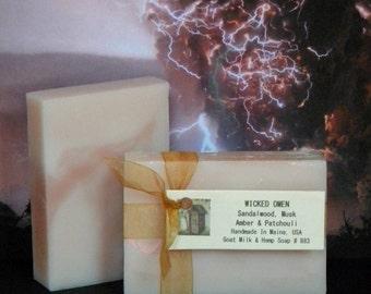 WICKED OMEN Sandalwood Soap- Sandalwood, Musk, Amber & Patchouli - Handmade Scented Soap Bar