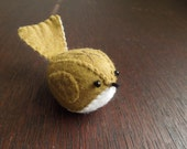 Olive Green Embroidered Wool Felt Bird