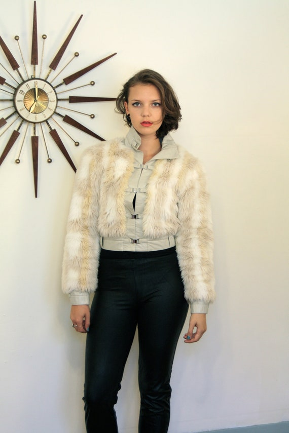 Vintage 80's Faux Fox Fur Cropped Jacket Puff Long Sleeve Faux Leather Buckles White and Gray Fredricks of Hollywood 1980's Short Coat