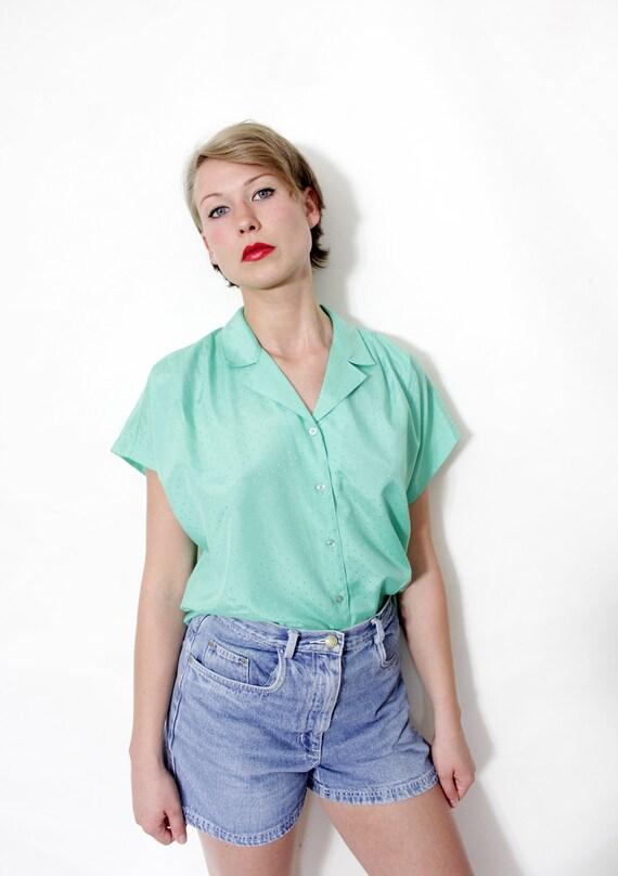 Vintage shirt / mint cap sleeve button up / size L