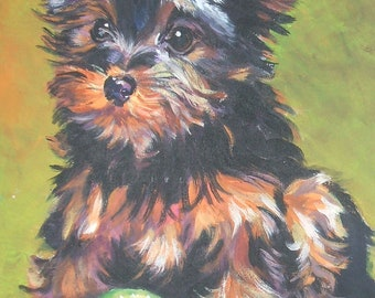 "YORKIE Yorkshire Terrier dog art PORTRAIT canvas PRINT of LAShepard painting 12x16"""