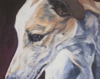 Greyhound portrait CANVAS print of LA Shepard painting 12x12 dog art
