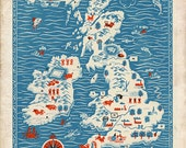 "Vintage England Map ""Great Britain"" Antique British Map - Red White and Blue Nautical Art Print - Mid Century Modern Art - missquitecontrary"