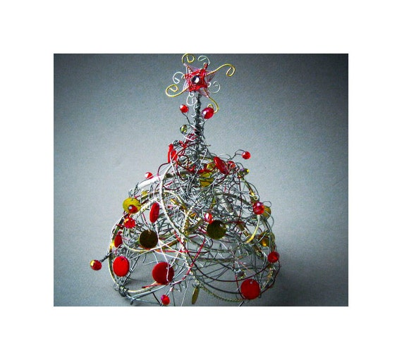 Recycle Jewelry Christmas Tree Table Decoration
