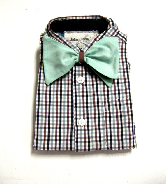 Boys Bow Tie Shirt, Modern, Plaid, Reversible, Size 18-24 Mo from the John Richard Line for Urban Boys Clothes