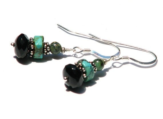 Southwestern turquoise onyx dangle earrings- aqua green black gemstone earrings- sterling silver- boho- Pueblo
