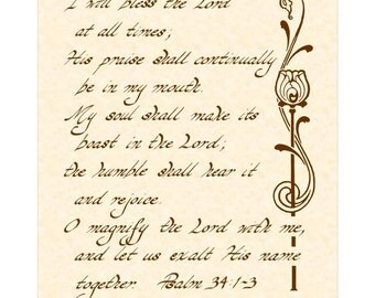 PSALM 34:1-3 --- 8 X 10 Hand Written Calligraphy Art Print Sepia Brown Natural Parchment Alternate Colors Available
