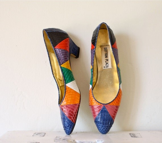 RESERVED chevron snake skin shoes 80s 8.5