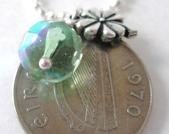 1970 Silver IRISH Coin CHARM Necklace- Silver 5 Pence Ireland Necklace