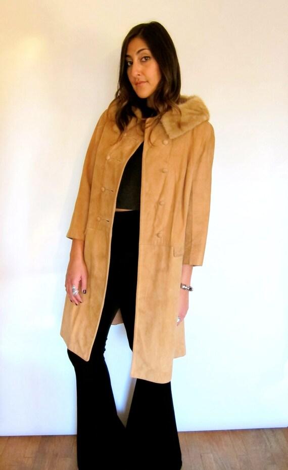 Vintage 60s Suede Coat with Fur Collar