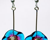 Glass flower earrings in bright turquoise and rose,  sterling silver ear wires, hand blown glass flowers drop botanical earring by paulbead