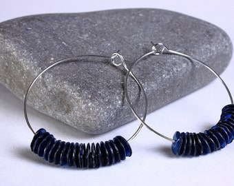 Blue sequins hoop earrings (636) - Flat rate shipping