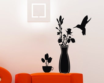 Sweetrose - Flowers in Vase and Cup with hummingbird - Wall Decals