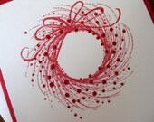 Sparkling Red Berried Wreath - handmade holiday greeting card