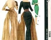 UNCUT * McCalls Designer Pauline Trigere Fishtail Cocktail Evening Dress Pattern 5588 *  Size 12 or Size 16