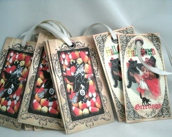 Candy Corn and Kitty Cat Witch Halloween Tags