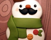 Snowman with a Mustache Brooch Pin - Kawaii Polymer Clay Jewelry - READY TO SHIP - Handmade by The Happy Acorn