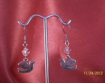 Peace Dove Swarovski Crystal Earrings