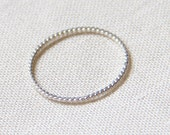 Rope Thread of Silver - Tiny Twist Textured Halo Hammered Stack Ring - Delicate Jewelry - Finger Tip Ring