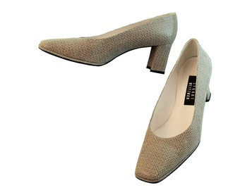 Vintage 90s Stuart Weitzman Classic Pumps // Taupe Glazed Woven // Wedding or Day Wear // Size 8 1/2 B US //