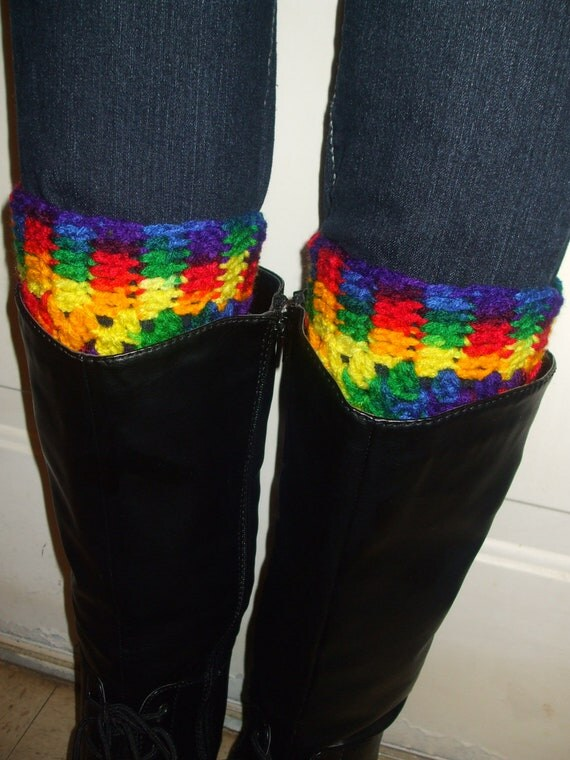Crochet Boot Cuffs in Rainbow Colors - Multi Rainbow Boot toppers - Leg warmers - Boot Socks