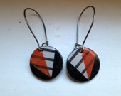 Red and Black Wedge Earrings with Stripes