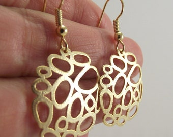 Gold Bubble Earrings, Organic Circle Gold Earrings, Round Earrings, Medallion Earrings, Gift for her, Gift under 30