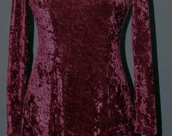 Vintage Burgundy Velvet DRESS, Brett Alexander, 1980s