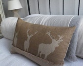 hand printed muted ight brown triple stag cushion cover