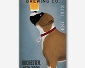 BOXER Free Customization PERSONALIZED Dog Brewing - Stretched Canvas Wall Art  Ready-To-Hang Custom Beer Cropped and Brindle